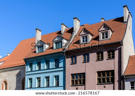Architecture in the Old Town of Riga. Riga's historical centre is a UNESCO World Heritage Site - stock photo