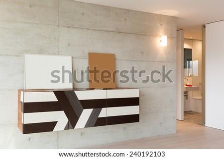 architecture, interior apartment, cabinet modern design - stock photo