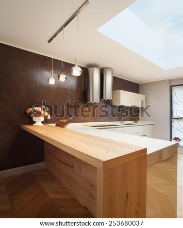 Architecture, interior apartment furnished, domestic kitchen - stock photo