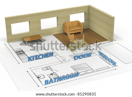 Architecture interior house plan - stock photo