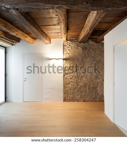 Architecture, interior of a loft, empty room with doors - stock photo
