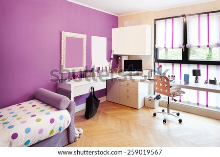 Architecture, interior of apartment furnished, nice bedroom - stock photo
