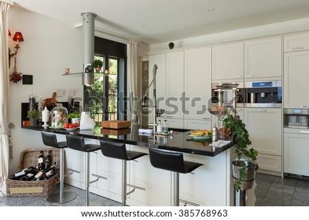 Architecture, interior of modern kitchen in luxury house - stock photo