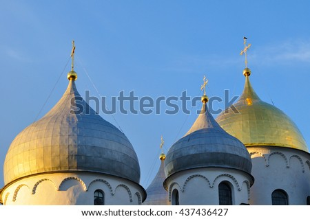 Architecture landscape - closeup of Saint Sophia Cathedral in Veliky Novgorod, Russia. The oldest Orthodox church building in Russia, closeup architecture view with sculptural architecture details - stock photo