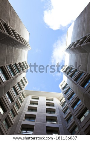Architecture.Looking up at Athens City center - stock photo