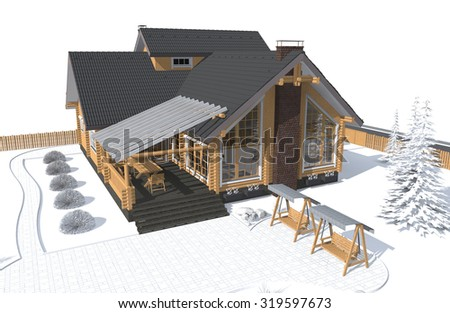 architecture model house gray with white environment 3D  - stock photo