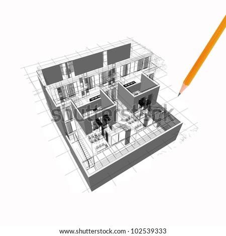 Architecture model house illustration - stock photo