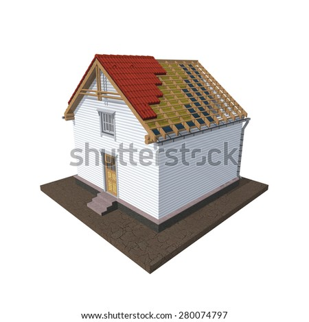 Architecture model house showing building structure, isolated on white - stock photo
