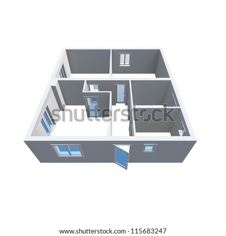 architecture model showing an apartment - stock photo