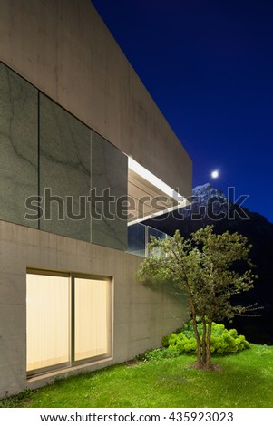 Architecture modern design, detail concrete house, night scene - stock photo