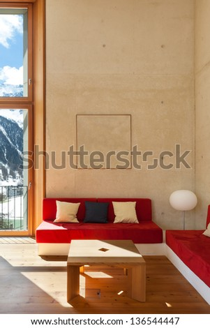architecture modern design, mountain home, living room - stock photo