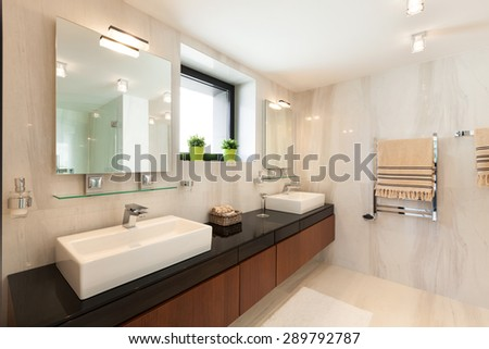 architecture, modern house, beautiful interiors, bathroom - stock photo