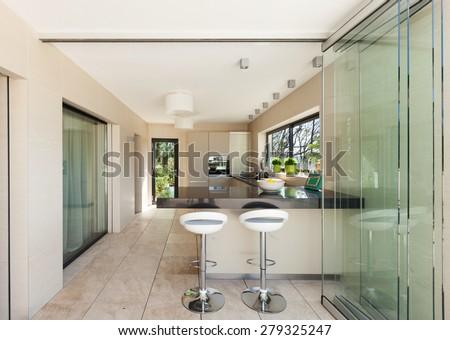 architecture, modern house, beautiful interiors, kitchen - stock photo