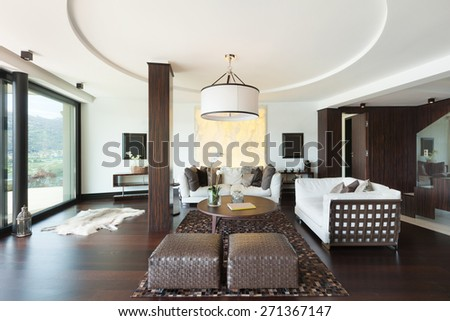 architecture, modern house, beautiful interiors, living room - stock photo
