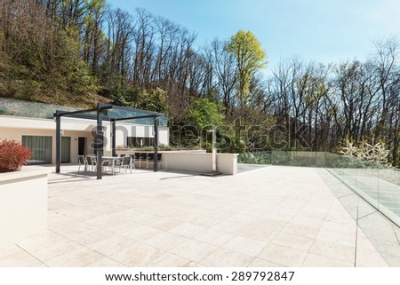 architecture, modern house, large terrace - stock photo