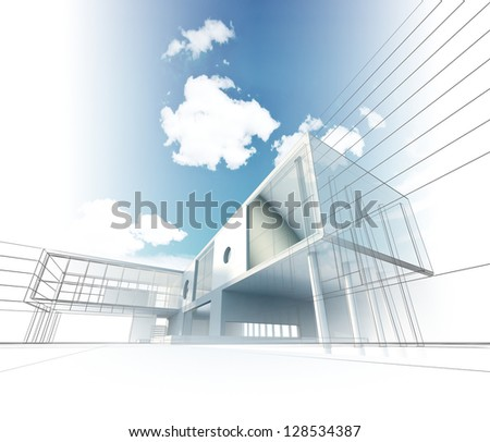 Architecture. My design, model and textures - stock photo