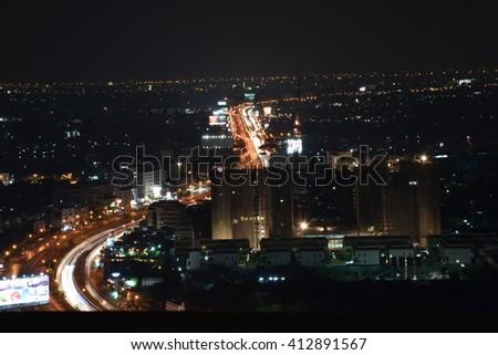 architecture night city  - stock photo