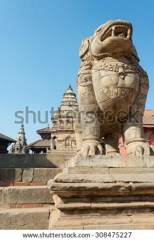 Architecture of Bhaktapur Square in Kathmandu, Nepal - stock photo