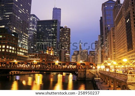 Architecture of Chicago along Chicago River. Chicago, Illinois, USA - stock photo
