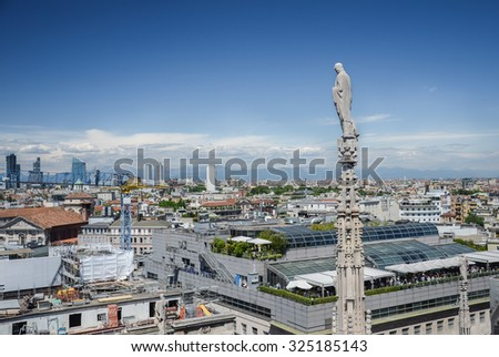 Architecture of Duomo in details - sculpture, statues, stucco - stock photo