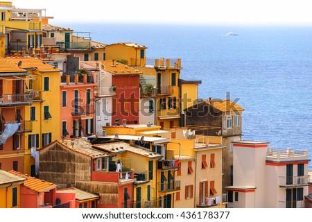 Architecture of Manarola (Manaea), a small town in province of La Spezia, Liguria, Italy. It's one of the lands of Cinque Terre, UNESCO World Heritage Site - stock photo