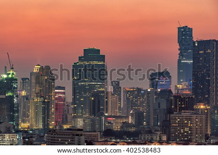 Architecture of modern office buildings, condominium in big city downtown at sunset - stock photo