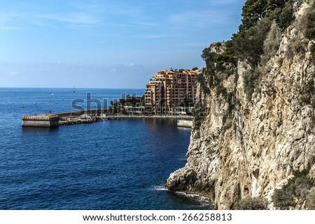 Architecture of Monaco. Principality of Monaco is a sovereign city state, located on the French Riviera in Western Europe. - stock photo