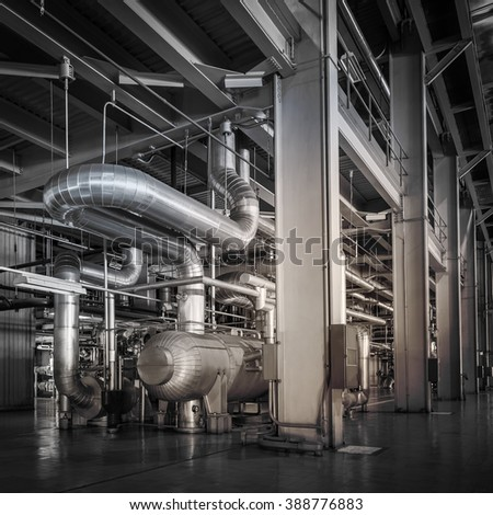 Architecture of powerhouse pipe system for industrial background - stock photo
