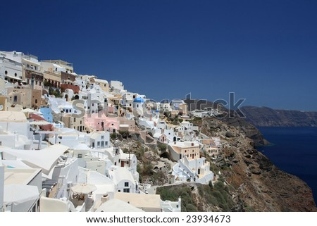 Architecture of Santorini, tradition, sun and sea - stock photo