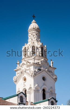 Architecture of the historic center of Quito. Historic center of Quito is the first UNESCO WOrld Heritage site - stock photo