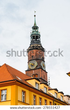 Architecture of the Market square in Wroclaw, Poland. - stock photo