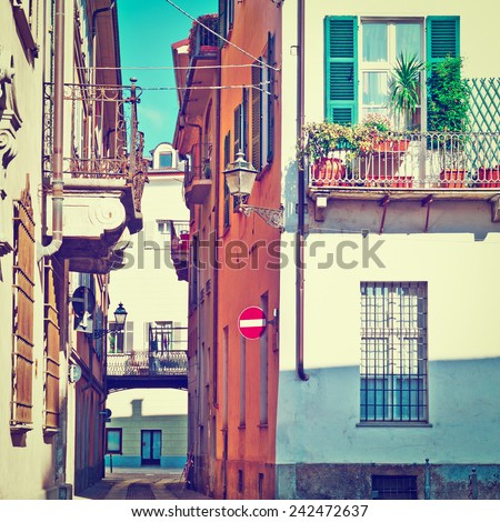 Architecture of the Medieval Piedmont City of Cuneo in Italy, Instagram Effect - stock photo