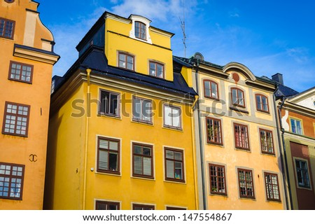 Architecture of the old town of Sweden - stock photo