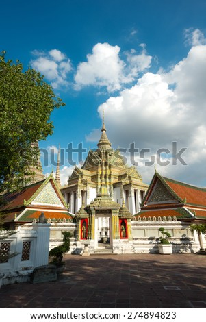 Architecture of Wat Pho, in Bangkok Thailand - stock photo