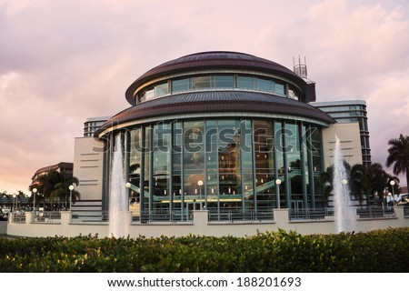 Architecture of West Palm Beach at sunset - stock photo