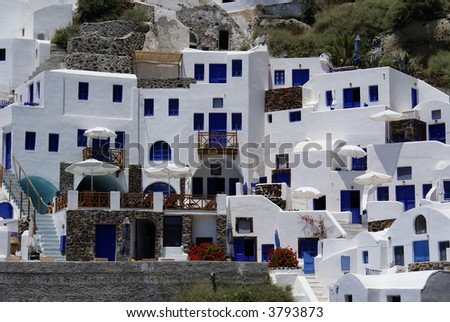 Architecture on Santorini island, Cyclades, Greece - stock photo