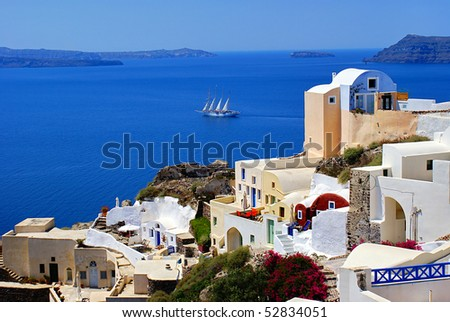 Architecture on Santorini island, Greece - stock photo