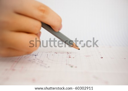 Architecture plan and pencil on paper - stock photo