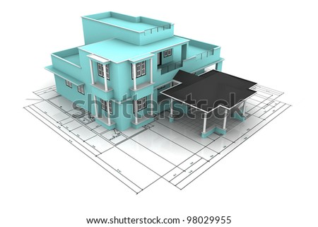 Architecture plan house isolated on white - stock photo