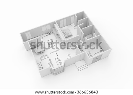 architecture plan of a residential house isolated on white background - stock photo