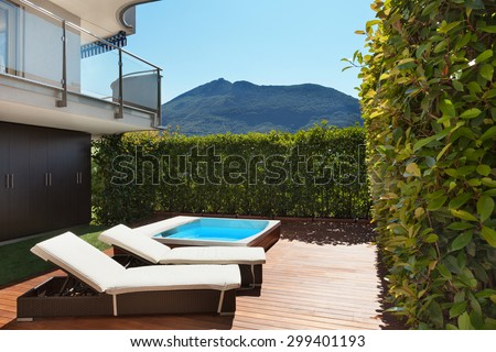Architecture, terrace with jacuzzi, summer day - stock photo