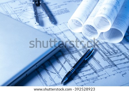 Architecture theme, blueprint rolls - stock photo