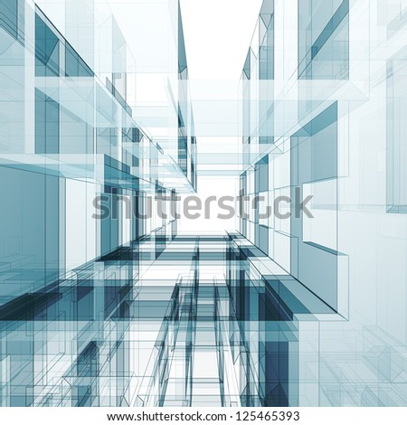 Architecture tunnel. 3d render image - stock photo