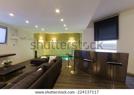 Architecture, wide loft with modern furniture, living room - stock photo