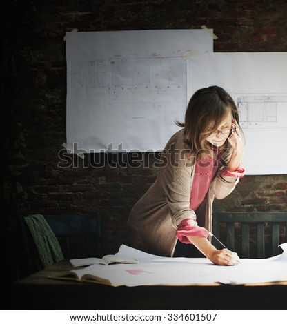 Architecture Woman Working Blue Print Workspace Concept - stock photo