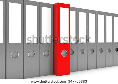 Archive Folders Row with one Red Standing Out on a white background - stock photo