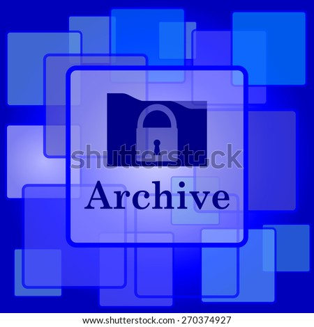 Archive icon. Internet button on abstract background.  - stock photo