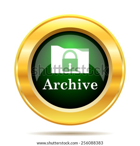 Archive icon. Internet button on white background.  - stock photo