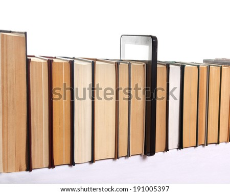 Archive.Line of old books and tablet PC over white background - stock photo