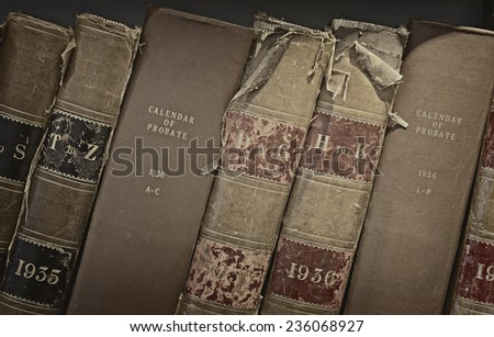 Archive of old probate books in a library - stock photo